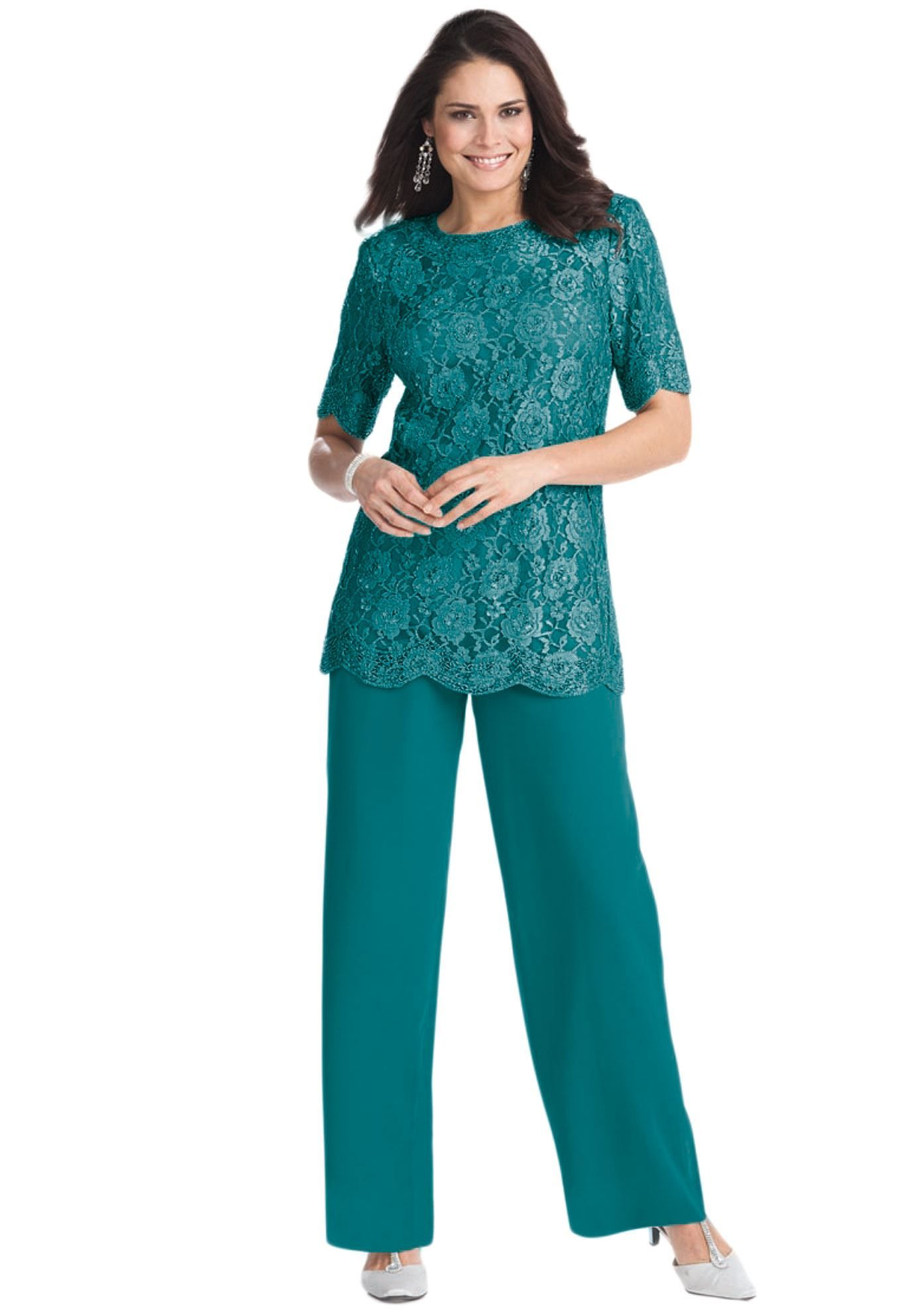 Lovely Plus Size, Short Sleeve Mother of the Bride Pant Suit ...