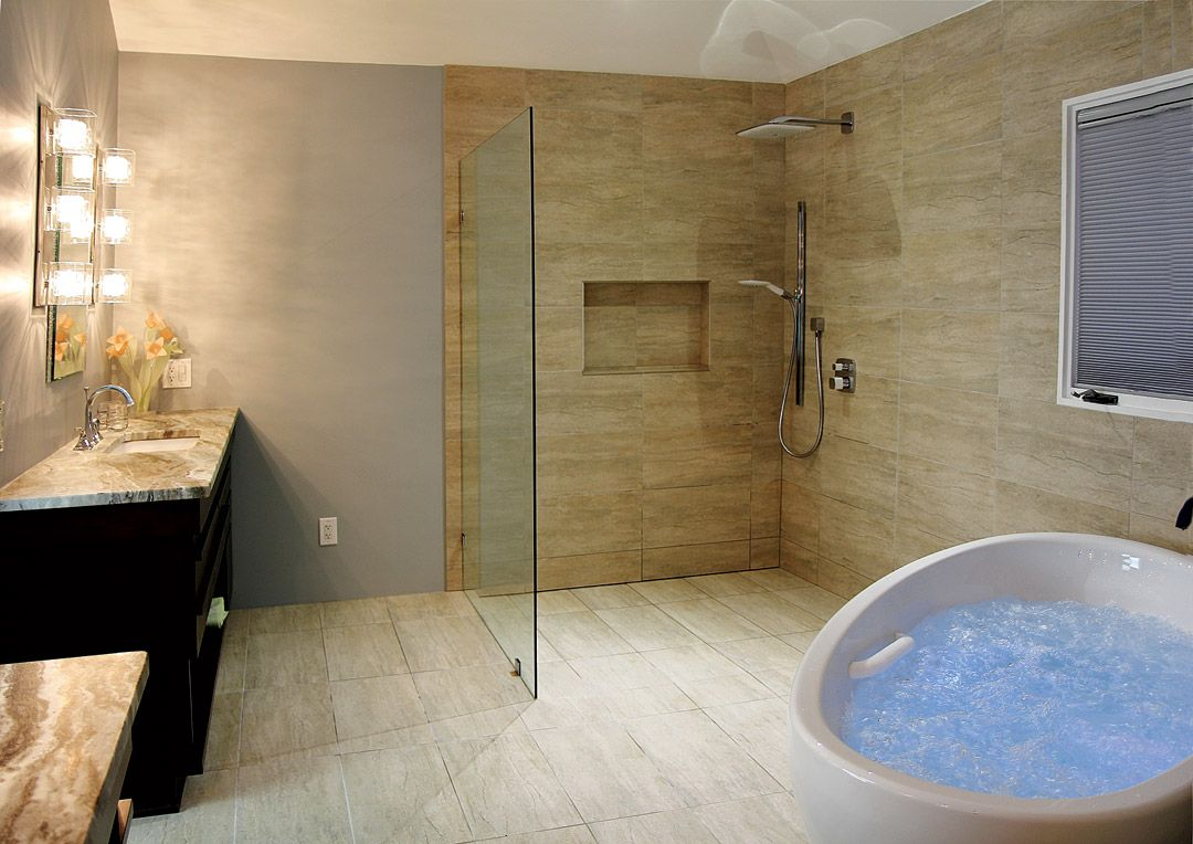 Bathroom design idea massage bathtub open shower for Open shower bathroom