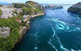 Japón, costa, bahía, puente, isla Fondos Fotos Imágenes