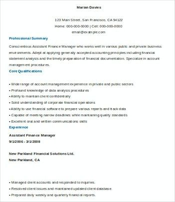 Assistant Finance Manager resume template Sample , Finance Manager - finance manager resume sample
