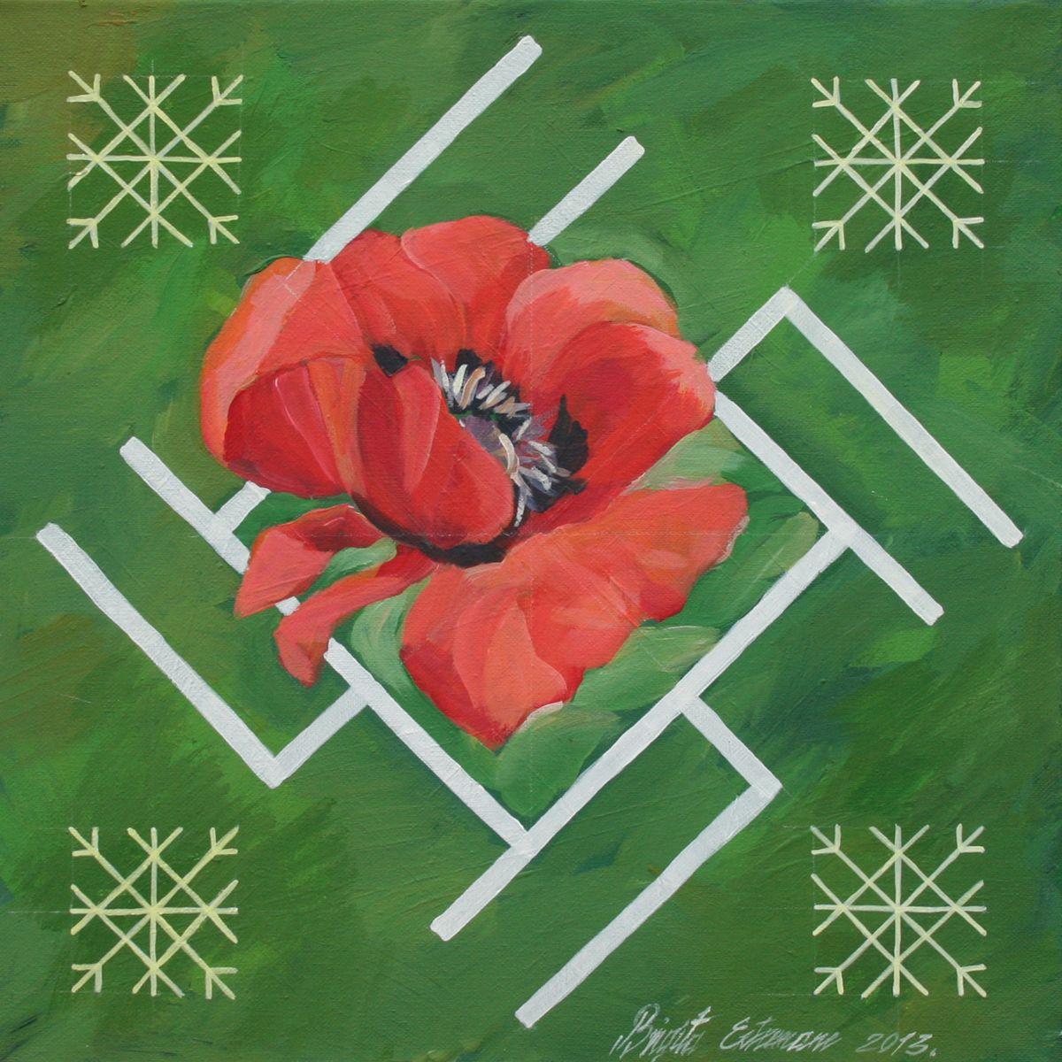 Traditional Latvian folk symbols with a poppy blossom on green. Acrylic on canvas, 40x40cm.