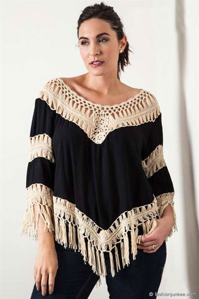 d584a7112ed Plus size crochet tunic top. Fringe detailing at the bottom hem. Fringe  measures about 3.5