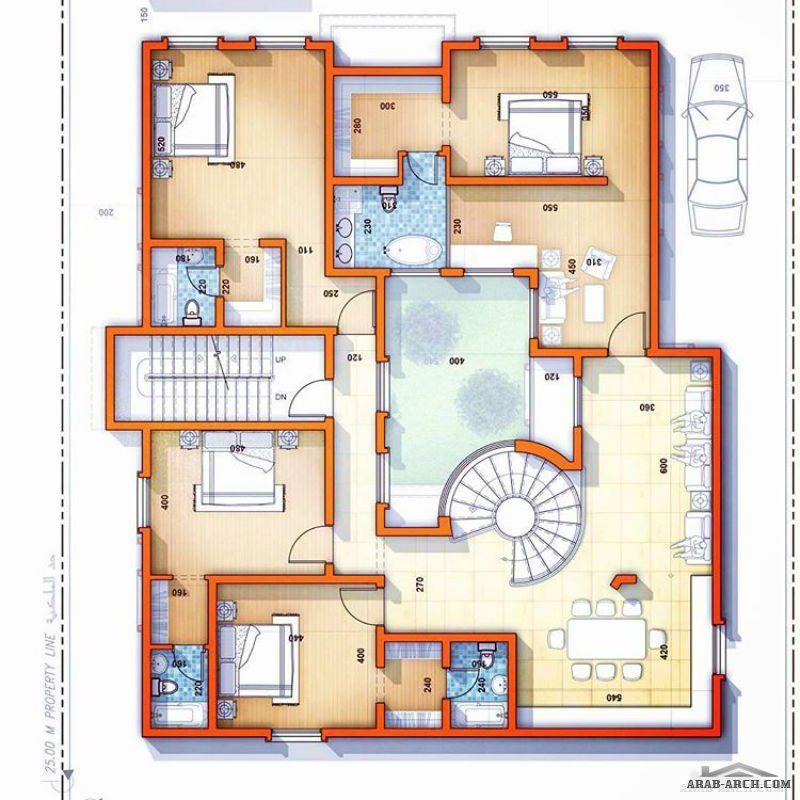 مخطط فيلا سكنية مساحة الارض ٥٠٠ م ٢ بفناء داخلي فكرة مبدئية السعودية خميس مشيط معماري عمارناصر Arab Arch Architecture House Floor Plans House