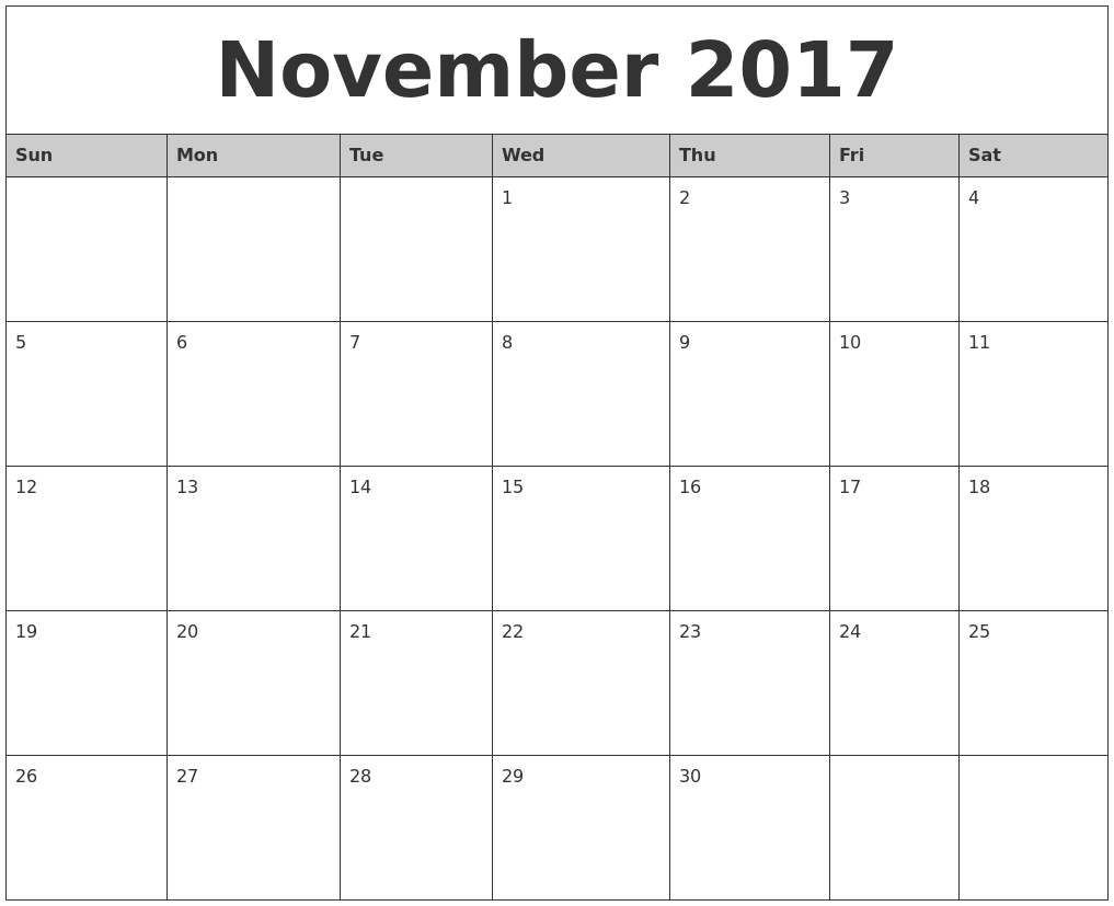 Attractive November 2017 Monthly Calendar Printable.png (1017×827)