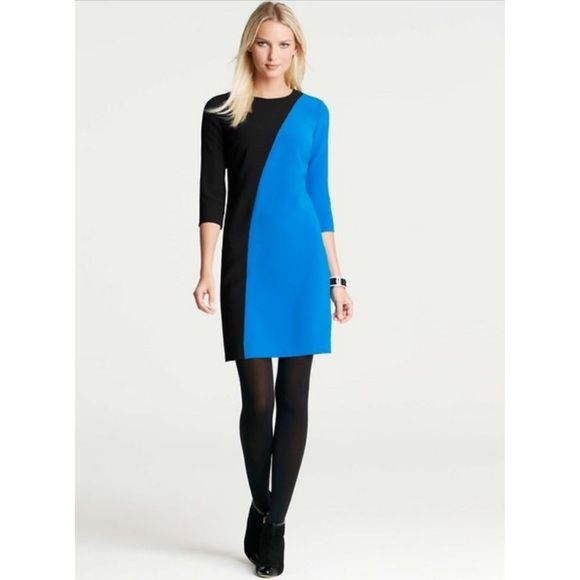 Blue black colorblock dress