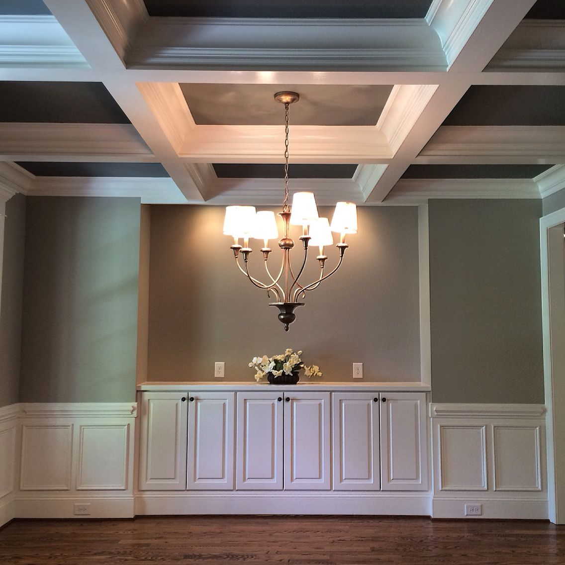 Coffered ceiling, two tone paint, built-ins