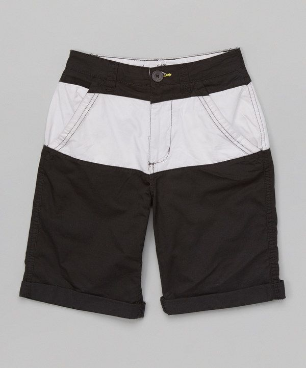 8db6ba1a02 Look at this Black & White Shorts on #zulily today! | Cute boy wear ...