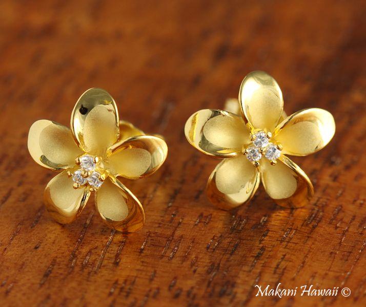 Hawaiian Silver Jewelry 12mm Plumeria With 3 Cz Inlaid