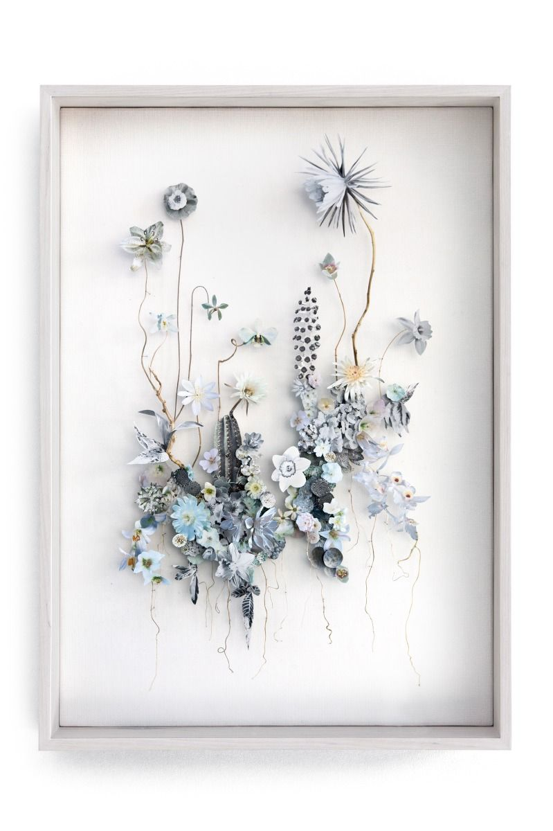 3 D Collage Of Cutout Flower Prints And Dried Flowers Amber