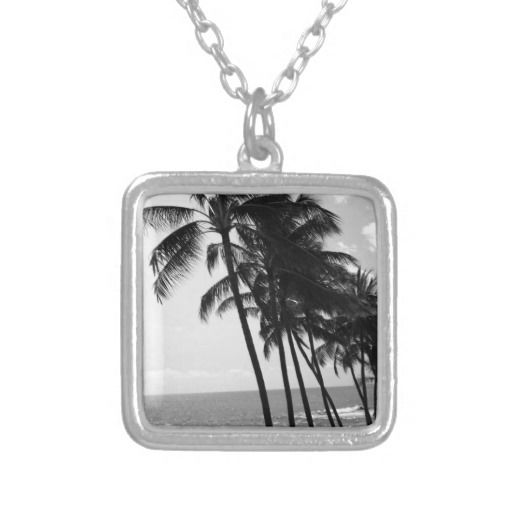 Black and White Palm Trees Custom Necklace