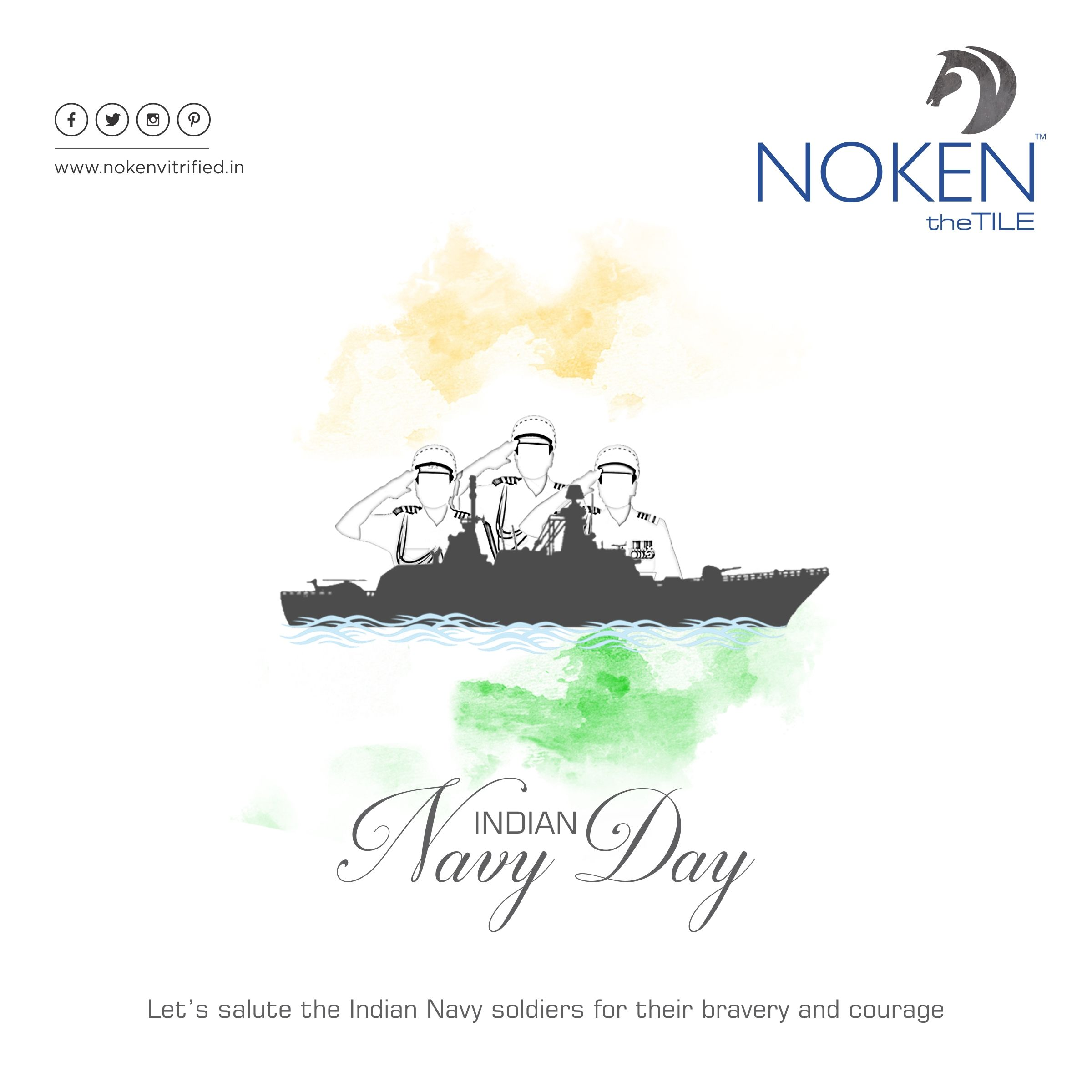 Let S Salute The Indian Navy Soldiers For Their Bravery And Courage Navy Day Of India Noken Tiles Ceramic Brand Fl Indian Navy Day Navy Day Indian Navy