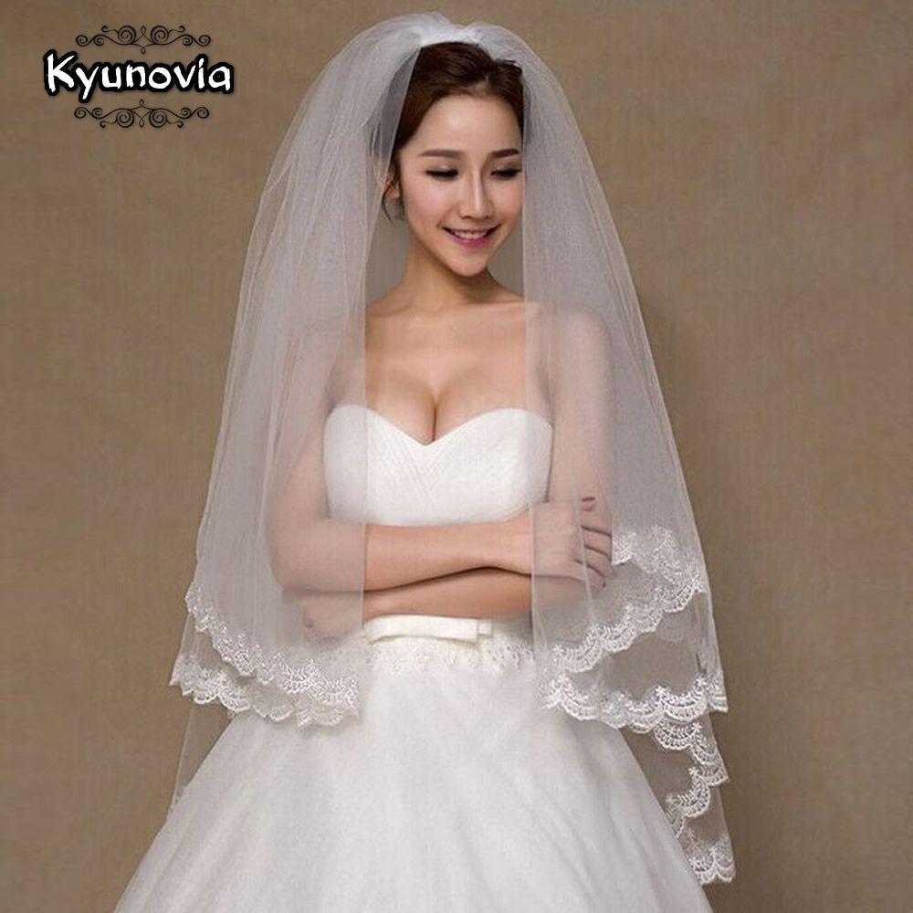 Kyunovia tier bridal veil beautiful ivory cathedral short wedding
