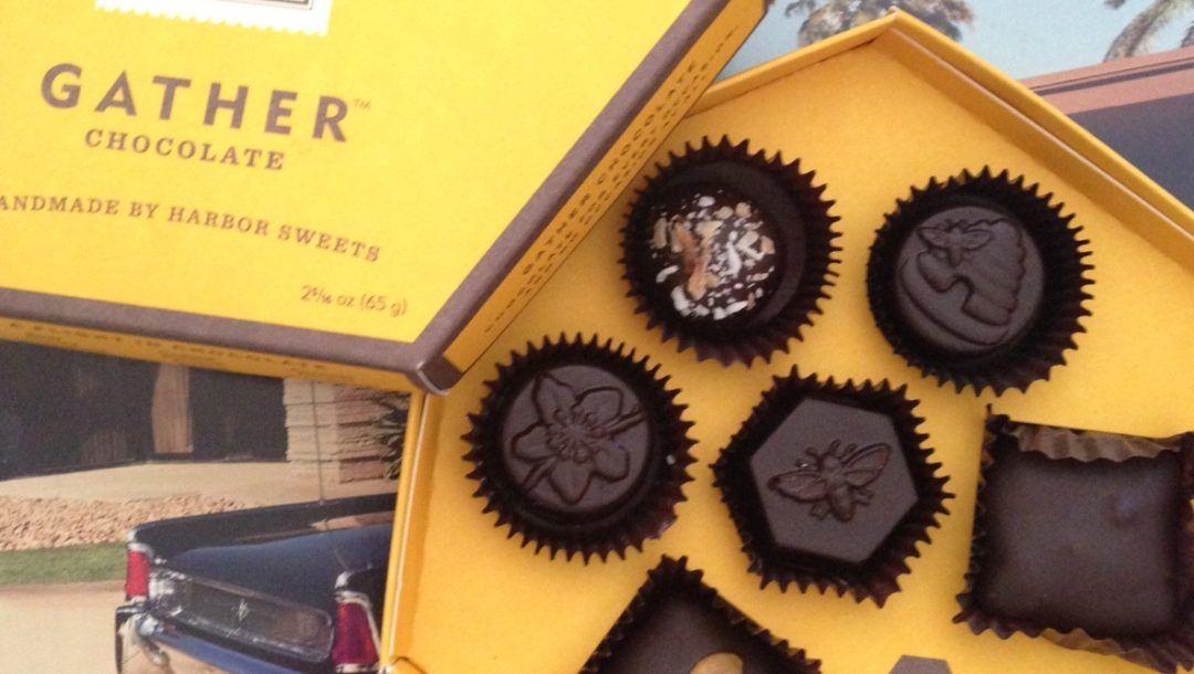 open box of Harbor Sweet's new Gather chocolates neversaydiebeauty.com
