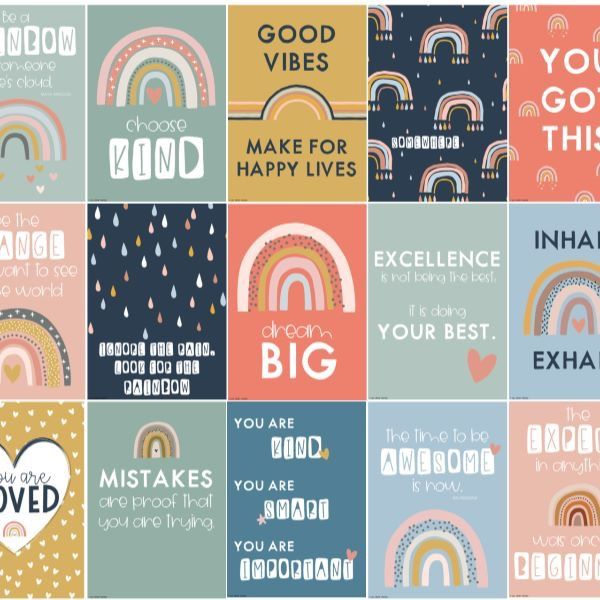BOHO RAINBOW Inspirational Growth Mindset Posters – you clever monkey