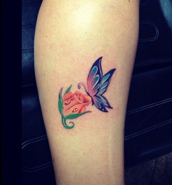 61 Small Rose Tattoos Designs for Men and Women | Rose ... Yellow Rose With Butterfly Tattoo
