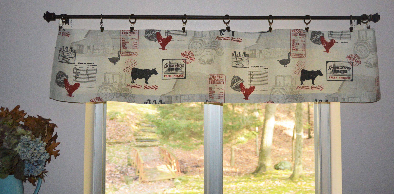 Farmhouse Mini Valance Country Kitchen Valance Farm Valance Cows And Chicken Small Kitchen Valance Kitchen Valances Country Valances Kitchen Curtains