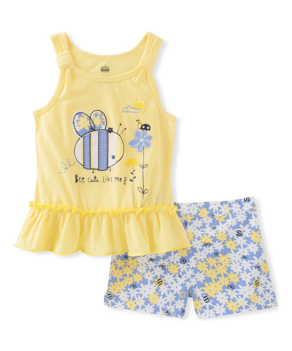 Yellow Bee Tank & Gray Floral Shorts - Infant Toddler & Girls