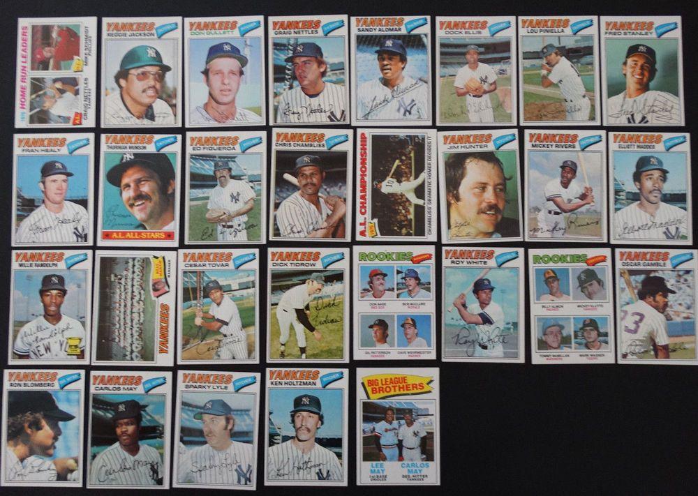 1977 topps new york yankees team set of 29 baseball cards