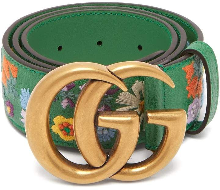 47a189756eb GUCCI Floral-embroidered GG-logo leather belt