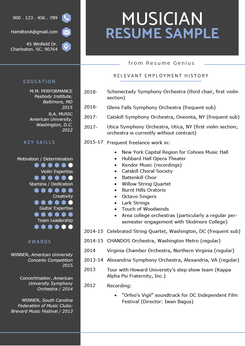 Musician Resume Example Template RG Graphic design