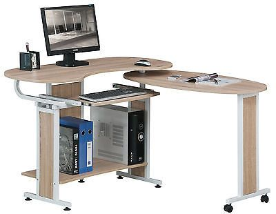 Sixbros Computerschreibtisch Bürotisch Schreibtisch Eiche Optik S