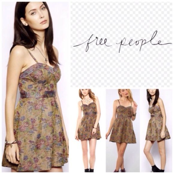 """Free People Tapestry Bustier Mini Dress.  NWT. Free People Tapestry Bustier Mini Dress, 100% rayon, lining 100% polyester, washable, 15.5"""" armpit to armpit (31"""" all around), 27.5"""" waist (no stretch) 32.5"""" length from maximum adjustable strap to hem, brocade mini dress, bustier bodice, sweetheart neckline, banded at waist, A-line skirt, side concealed zip, removable straps, measurements are approx.  No PayPal...No Trades... Free People Dresses Mini"""