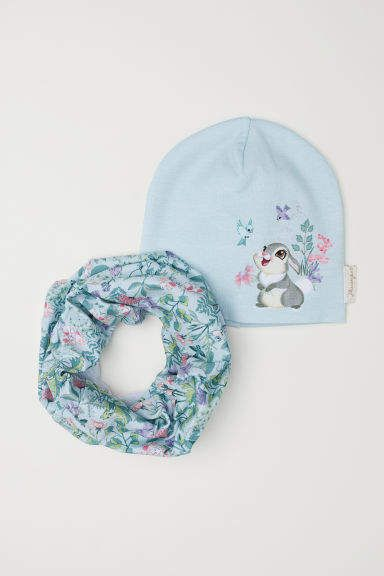 6990f6a7b8a H M Hat and Tube Scarf - Turquoise
