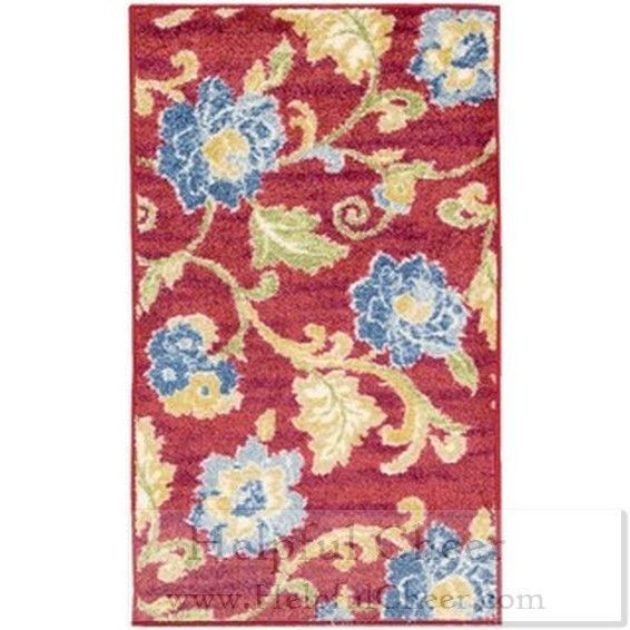 Waverly Aura Of Flora Lipstick Red Area Rug 7 x27 9 x 9 x27 9 - at - 0153