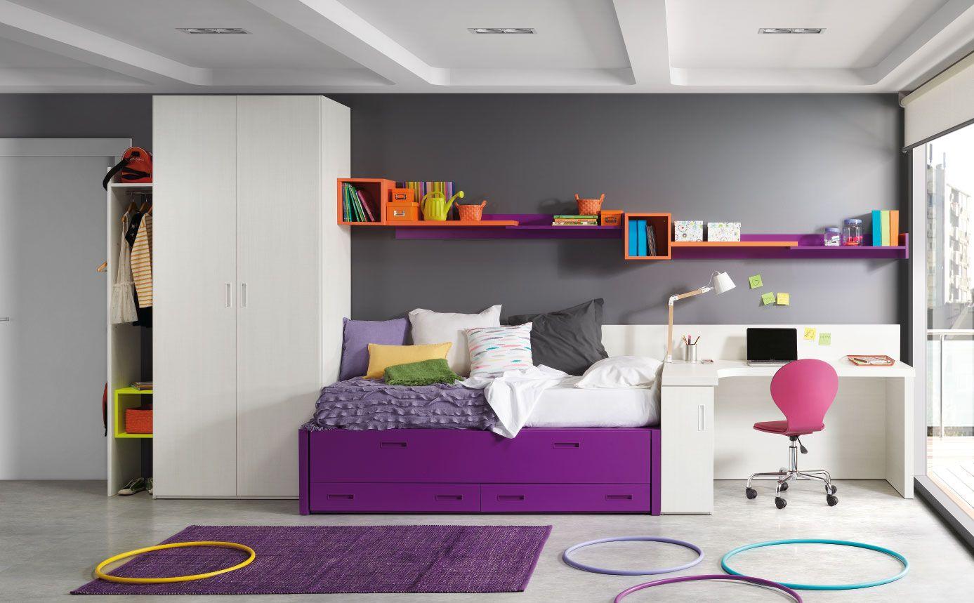 Dormitorios Para Dos Hermanos Cama Nido De La Colecci N Chroma  # Giessegi Muebles Infantil