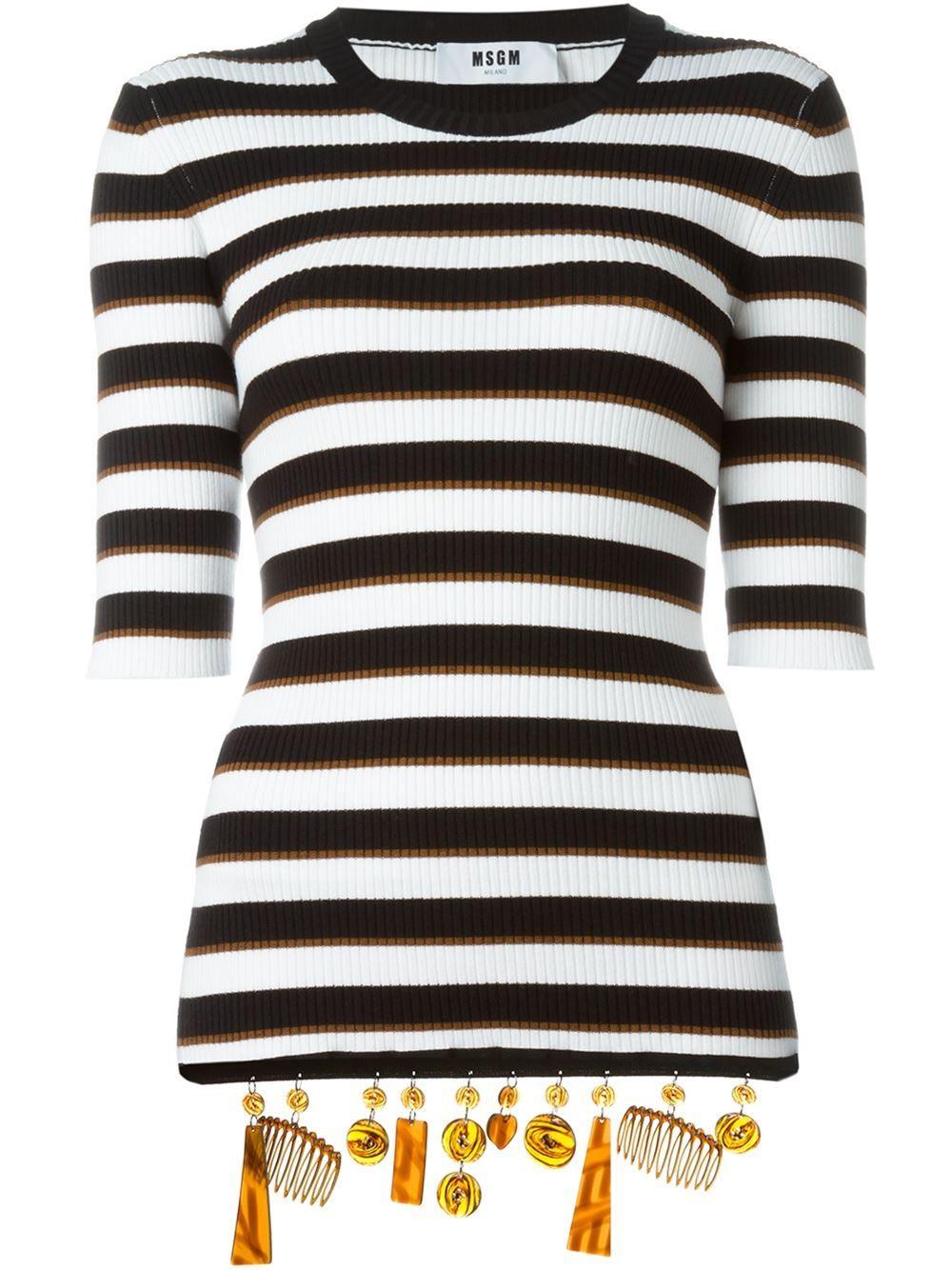 MSGM embellished hem striped top
