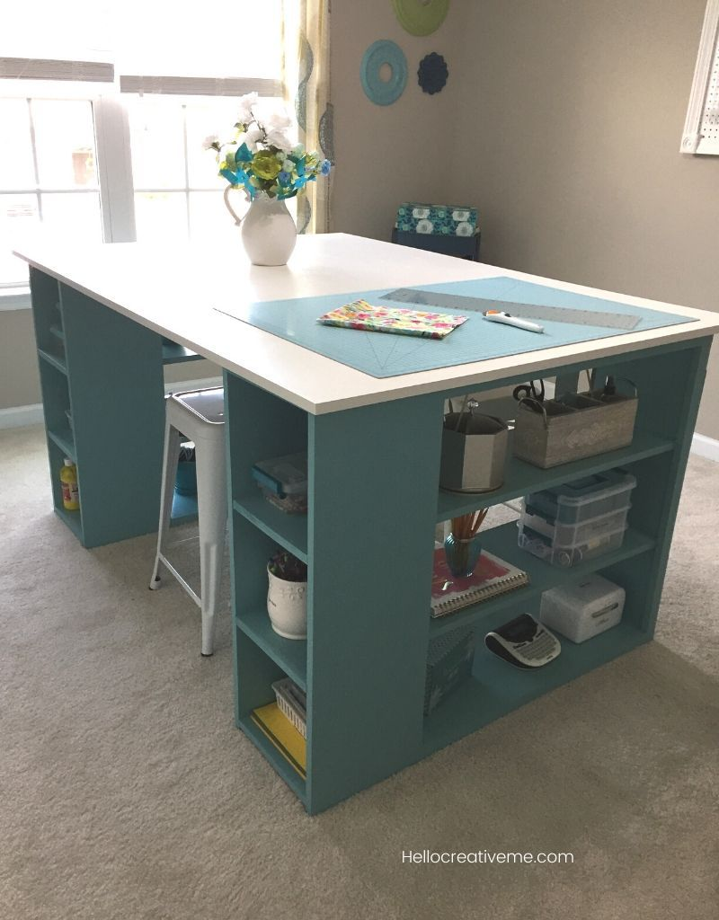This Diy Craft Table Provides Lots Of Room For Crafting And Sewing Get The Details Here Diycraftro Diy Craft Room Table Craft Room Tables Sewing Room Design