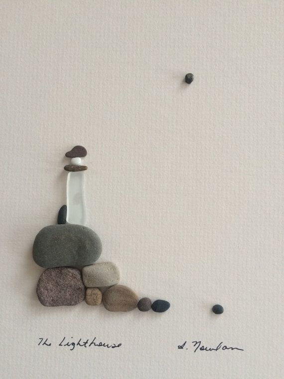 8 By 10 Lighthouse Made With Pebbles And Sea Gl Pebbleart