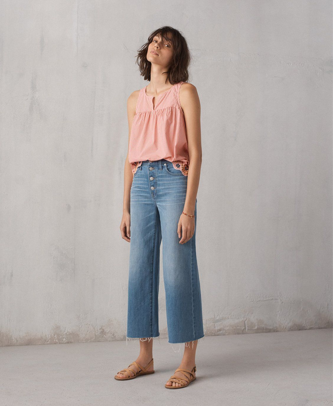 139227341e1 madewell wide-leg crop jeans worn with embroidered gingham tank top ...