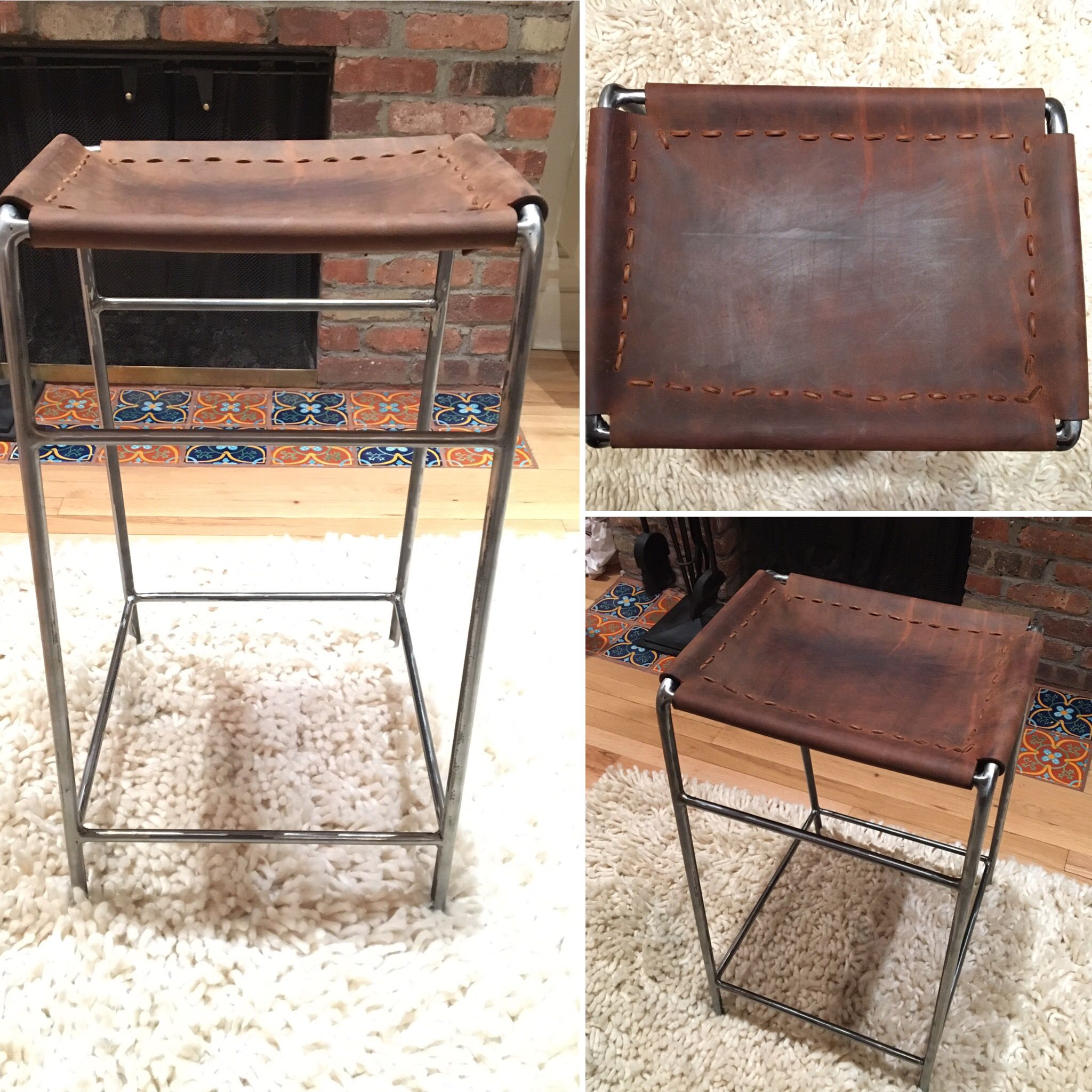 Steel And Buffalo Hide Stool Sealed With Bees Wax. Hand Made In Brooklyn, NY