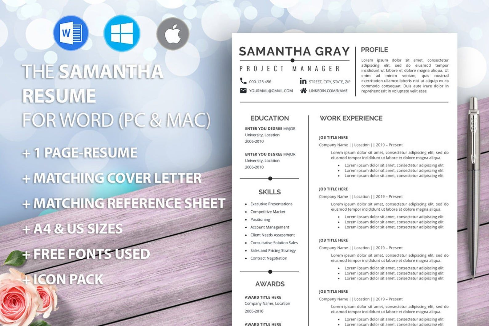 Project manager resume template for Word, Professional