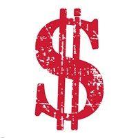 Framed Red Dollar Sign