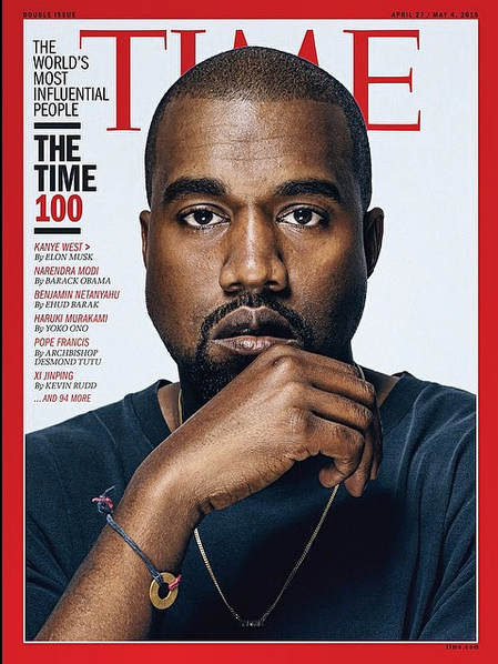 39cc39e48 Kanye West wearing his MyIntent BEAUTIFY bracelet on the cover of TIME  Magazine