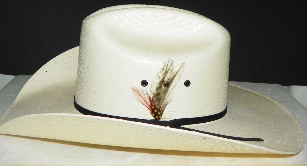 Vtg Resistol Double RR 7X Natural Stiff Straw Rodeo Western Cowboy Hat Size  7  Resistol  CowboyHat e00373d7abc9
