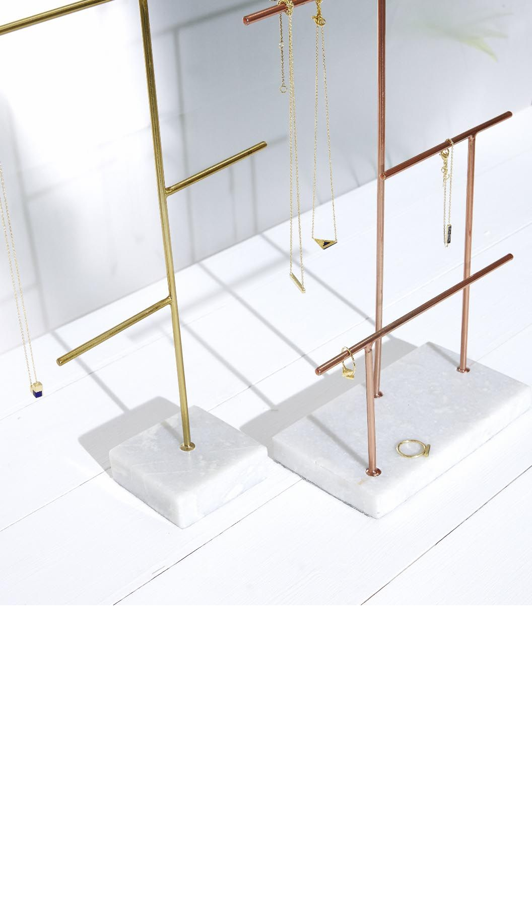 214dabf9f Combining a sleek and weighty marble base with structural metallic lines,  our minimalist Large Copper & Marble Jewellery Stand allows your jewellery  to make ...
