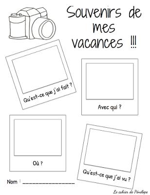 Souvenirs de vacances Le cahier de Pénélope | enseignement primaire ...