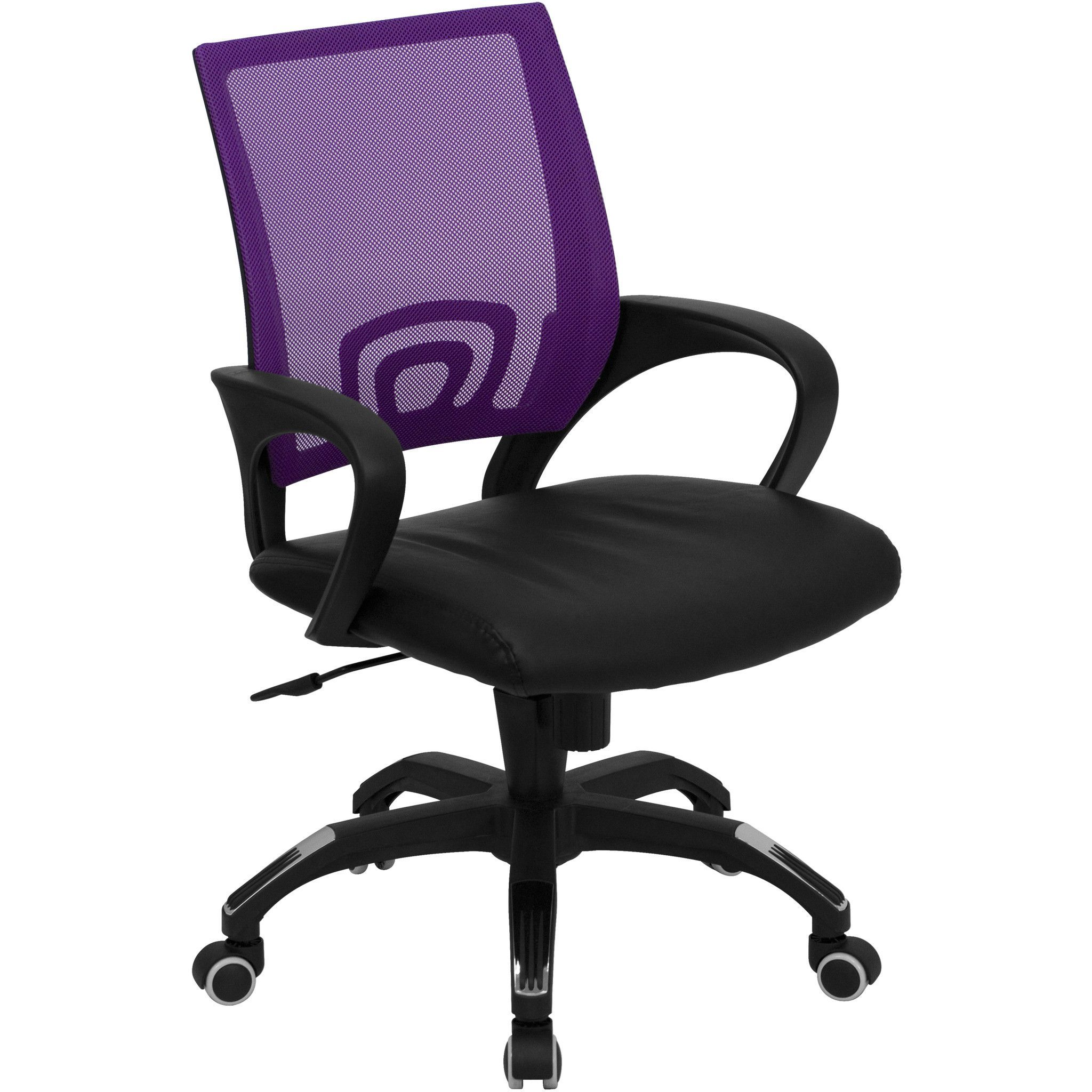 Mid Back Purple Mesh Computer Chair With Black Leather Seat Adjustable Office Chair Mesh Office Chair Chair