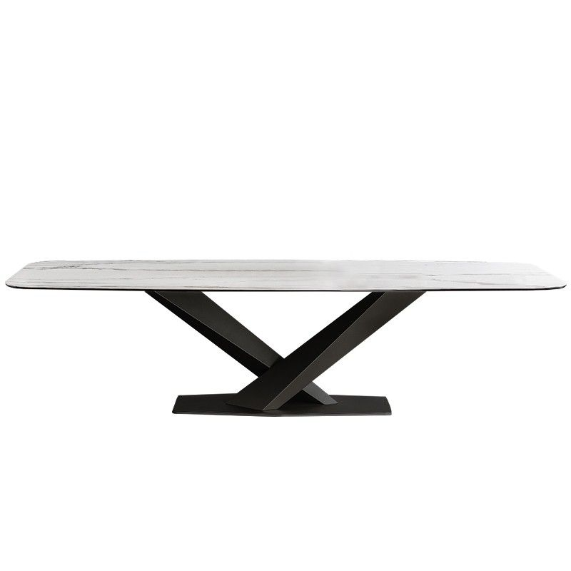 Modern Rectangular 63 In 2021 Faux Marble Dining Table Dining Table Black Marble Dining