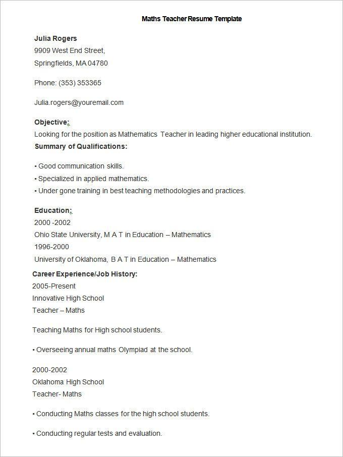 Teaching Resume Skills Simple Sample Maths Teacher Resume Template  How To Make A Good Teacher .
