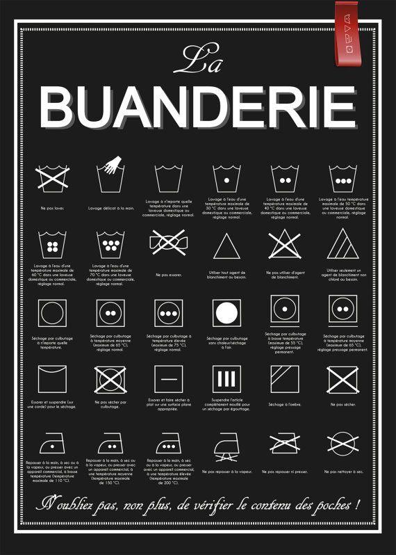 a4 affiche la buanderie buanderie lavage machine to. Black Bedroom Furniture Sets. Home Design Ideas