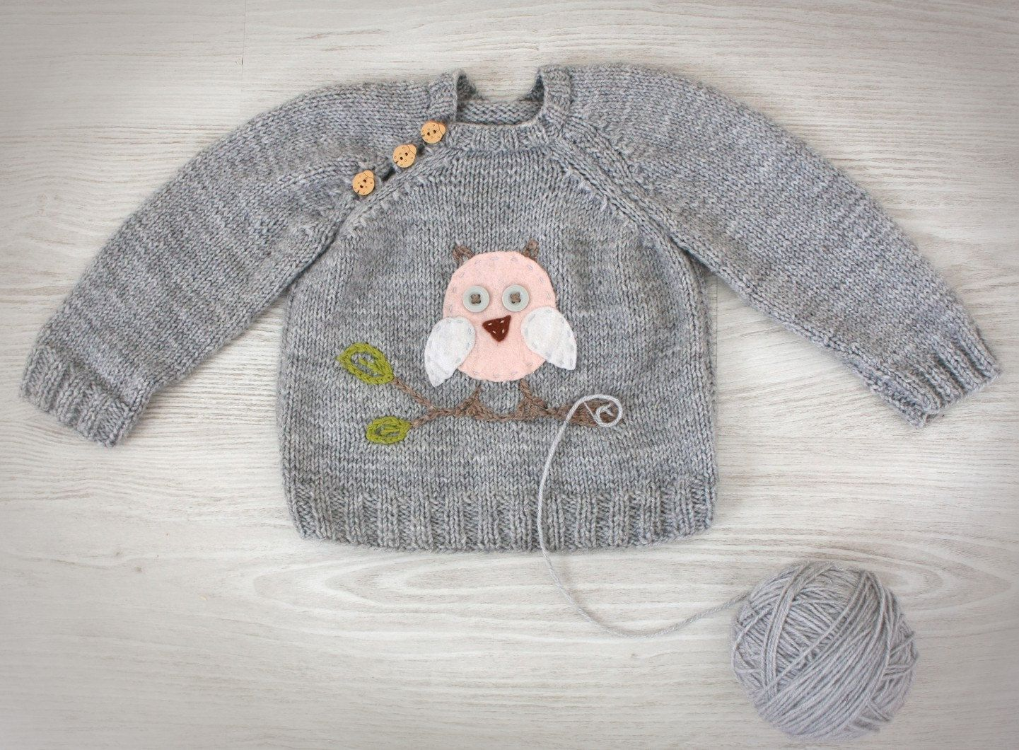 hand knit baby sweater grey merino wool knit baby clothes
