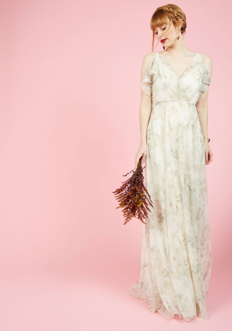 Chi Chi London Sparkling Celebration Midi Dress in Ivory