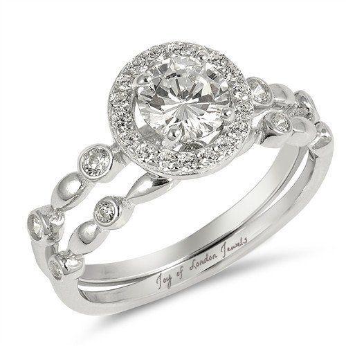 77b541eed3c5c 2.2CT Round Cut Russian Lab Diamond Halo Bridal Set Wedding Band ...