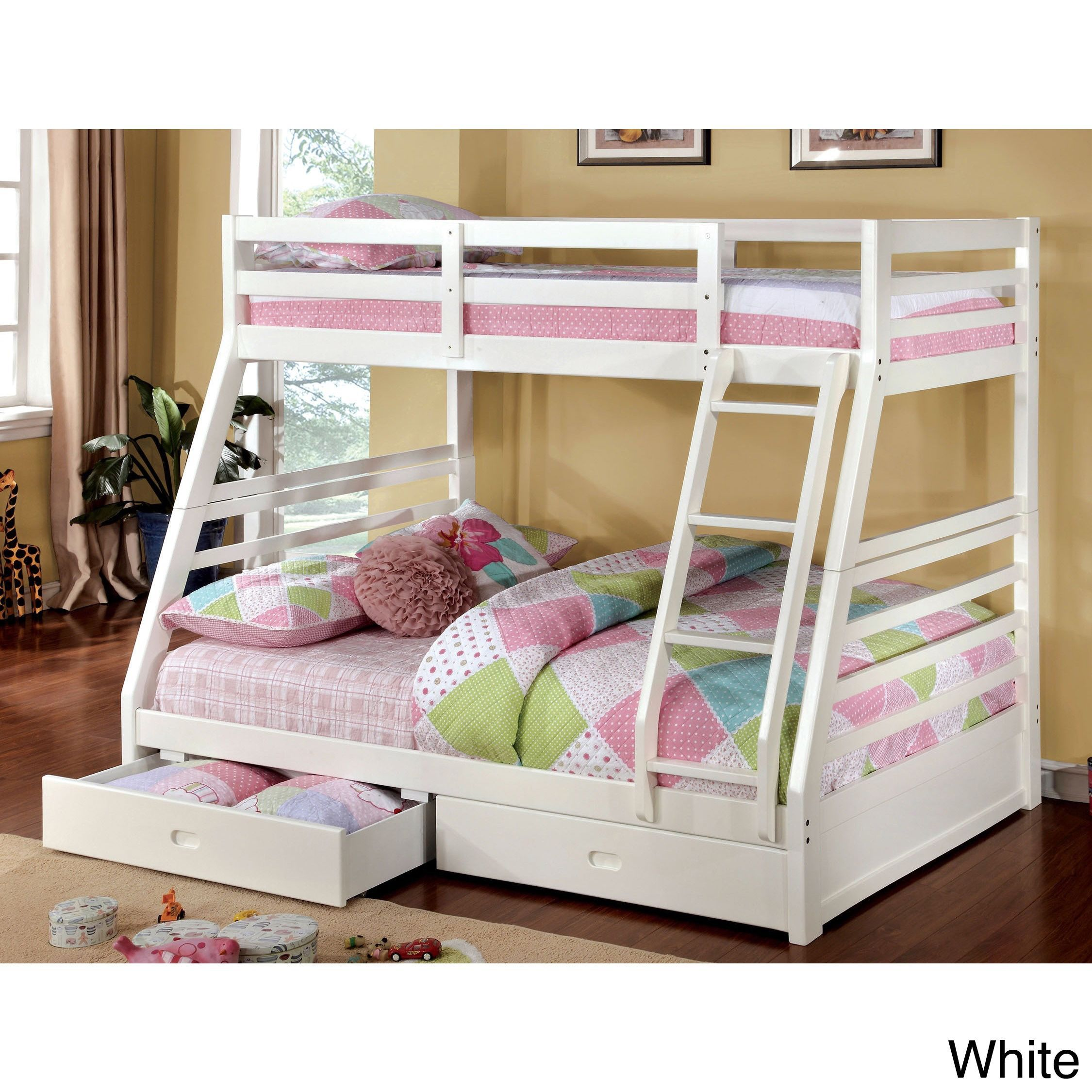 Loft bed with slide wayfair  Furniture of America Junior Roomates Twin over Full Bunk Bed with