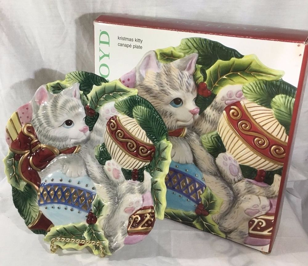 Fitz And Floyd Canape Plate Kristmas Kitty Christmas Kitten Cookies Candy Nib Christmas Kitten Fitz And Floyd Kitty