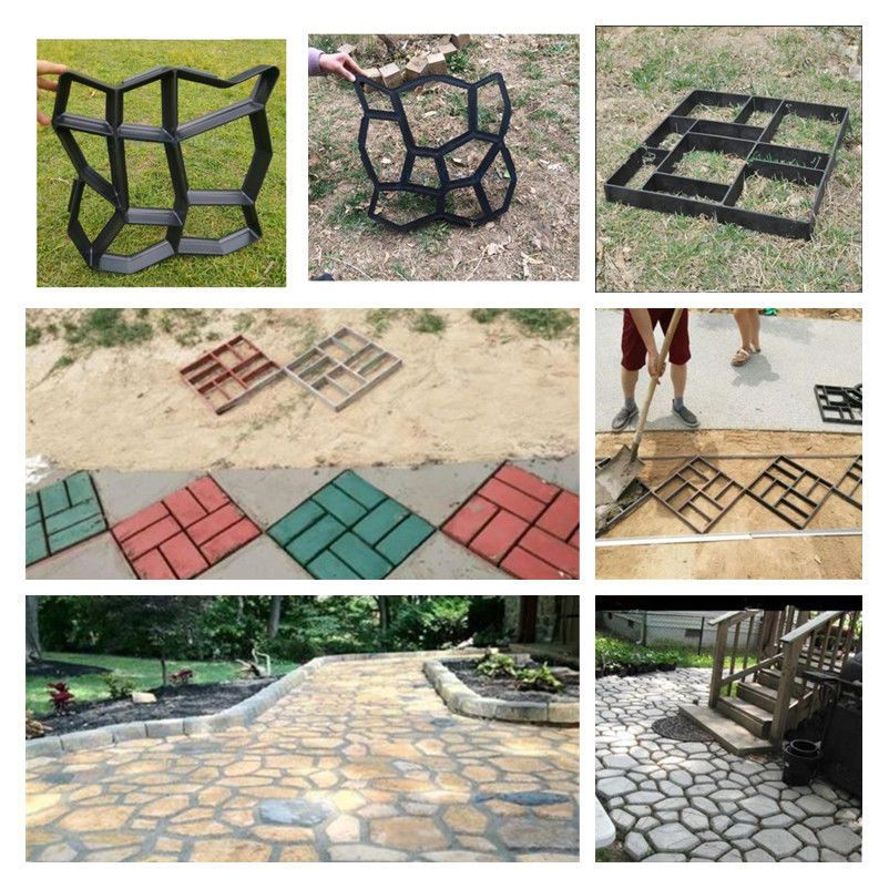 4 Styles Mould Make Driveway Paving Brick Patio Concrete Slabs Path Garden Walk Garden Stepping Stones Decorative Stepping Stones Concrete Patio